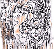 Wood Grain, charcoal on paper by Regina Valluzzi