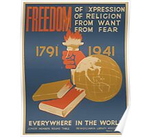 WPA United States Government Work Project Administration Poster 0738From Of Expression Religion From Want Fear Everywhere in the World Poster