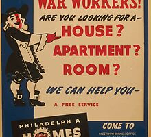 WPA United States Government Work Project Administration Poster 0980 War Workers Are You Looking for a House Philadelphia Homes by wetdryvac