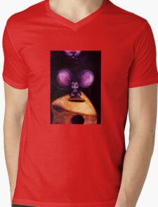 Cat and Mouse on Swiss Cheese Mens V-Neck T-Shirt