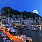 GIBRALTAR AT NIGHT PANORAMIC by kfbphoto