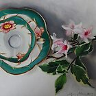 Tea and Blossoms - Antique Tea Cup and Floral by Mary  Hughes