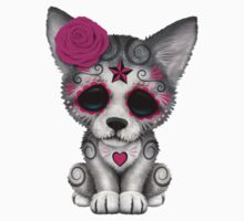 Pink Day of the Dead Sugar Skull Wolf Cub by Jeff Bartels