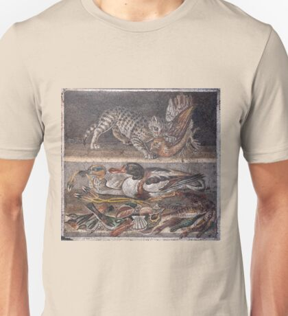 Cat biting a Fowl mosaic Unisex T-Shirt