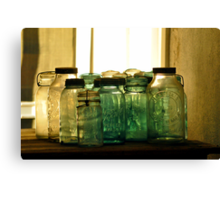 Old Glass Jars and Bottles Canvas Print