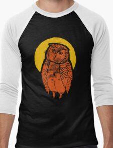 Owl Moon Linocut (dark tee) Men's Baseball ¾ T-Shirt