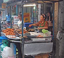 Streetside Food Stall, Bangkok, Thailand  by Adrian Paul