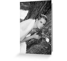 Bride Portrait Black White Greeting Card