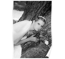 Bride Portrait Black White Poster