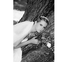 Bride Portrait Black White Photographic Print