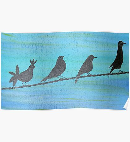 Birds On Wire-Painting Poster