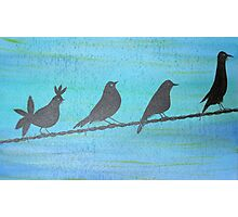 Birds On Wire-Painting Photographic Print