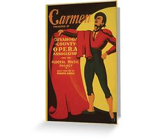 WPA United States Government Work Project Administration Poster 0721 Carmen Cuyahoga County Opera Greeting Card