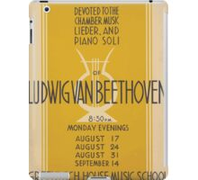 WPA United States Government Work Project Administration Poster 0667 Four Evening Programs Ludwig Van Beethoven Greenwich House Music School iPad Case/Skin