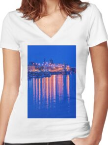 Waterbus ships near the waterfront Women's Fitted V-Neck T-Shirt