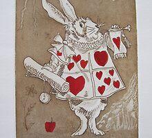 White Rabbit - Alice - Tribute to John Tenniel by Denise Martin