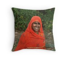 woman of Rajasthan Throw Pillow