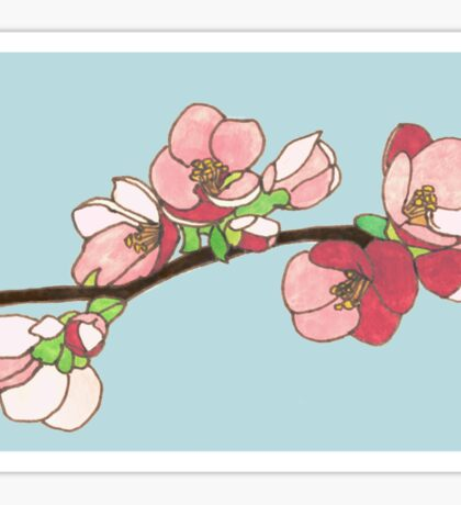Pink on Blue Blossoms Sticker