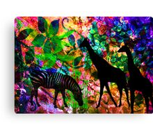 Zebra & Giraffes. Canvas Print