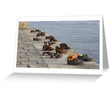 Shoes on the Danube river bank Greeting Card