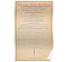 United States Department of Agriculture Poster 0261 German Allies Are Here Is Your Home Harboring and Feeding German Allies Poster