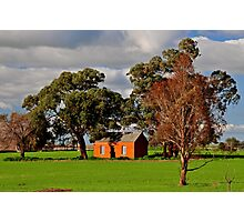 Green Fields, Red Ruin amongst the Gum Trees Photographic Print