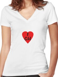 I Love Switzerland - Country Code CH T-Shirt & Sticker Women's Fitted V-Neck T-Shirt