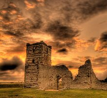 Sunset over Knowlton Church, Dorset by Eddie Howland