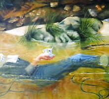Saturating the ducks collar, 2000, oil on canvas. by fiona vermeeren