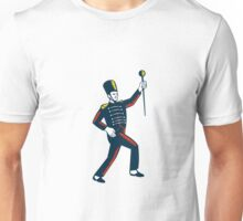 Drum Major Marching Band Leader Woodcut Unisex T-Shirt