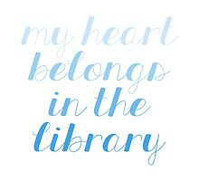 My Heart Belongs in the Library - Blue by bboutique
