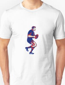 Rugby Player Running Passing Ball Retro T-Shirt