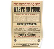 United States Department of Agriculture Poster 0109 Waste No Food Poster