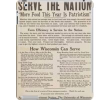 United States Department of Agriculture Poster 0286 Serve the Nation More Food This Year is Patriotism iPad Case/Skin