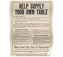 United States Department of Agriculture Poster 0282 Help Supply Your Own Table Poster