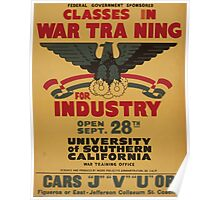 WPA United States Government Work Project Administration Poster 0920 Classes in War Training for Industry Poster