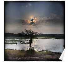 Landscape with lake, tree, and sun rays Poster