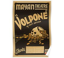 WPA United States Government Work Project Administration Poster 0764 Mayan Theatre Volpone Ben Johnson Poster