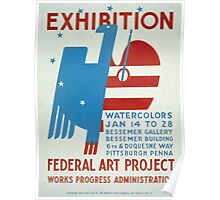WPA United States Government Work Project Administration Poster 0175 Exhibition Watercolors Federal Art Project Poster