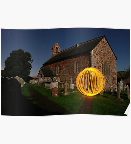 Light orb at the Churchyard Poster