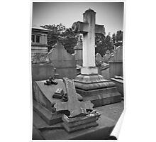 Broken cross and tombstone Poster