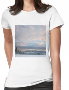 Snowy mountains Womens Fitted T-Shirt