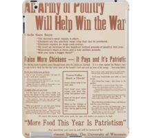 United States Department of Agriculture Poster 0285 An Army of Poutry Will Help Win The War More Food This Year Is Patriotism iPad Case/Skin