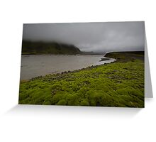 Low clouds, rushing water, green... Greeting Card