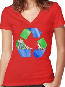 Boys Love the Planet, Too Women's Fitted V-Neck T-Shirt