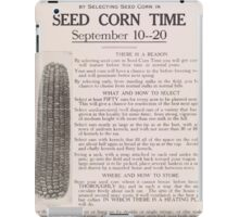 United States Department of Agriculture Poster 0230 Help Win The War Seed Corn Time iPad Case/Skin