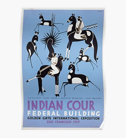 WPA United States Government Work Project Administration Poster 0410 Antelope Hunt Navajo Drawing New Mexico Indian Court Federal Building Golden Gate International Exposition Poster