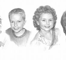 siblings at five years old drawing by Mike Theuer
