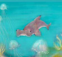 Hammerhead shark in jellyfish reef by Julie Duczynski