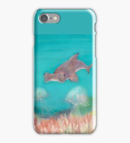 Hammerhead shark in jellyfish reef iPhone Case/Skin